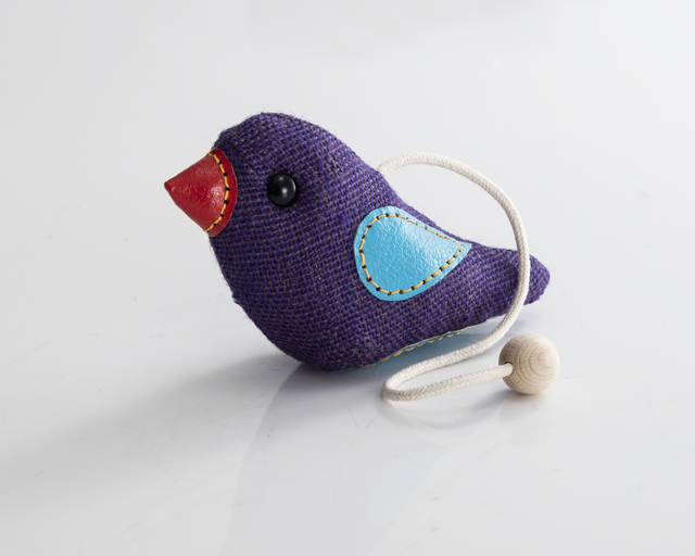 ", '""Therapeutic Toy"" Bird in purple jute with blue and red leather detailing. Designed and made by Renate Müller, Germany, 2016.,' 2016, R & Company"