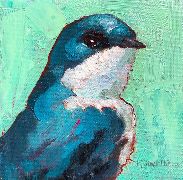 """Michael-Che Swisher, '""""Sharp Gaze"""" Oil portrait of a blue and white bird with green background', 2018, Eisenhauer Gallery"""