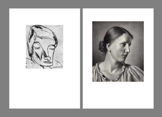 """, '""""Deutsche Kunst, Únd Éntartete Kúnst.  Schmidt- Rottluff, picture of a woman"""" and """"Deutsche Kunst, Únd Éntartete Kúnst.  Adolf Ziegler, study of Hertha."""" (diptych),' 2016, Josée Bienvenu"""