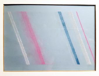 nT. (chalkline drawing: 6 lines; fluorescent pink/cobalt blue/titanium white) for Bridget Riley