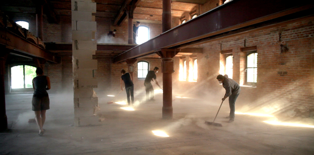 , 'Canon for seven brooms, dust and an empty building,' 2012, MARSO