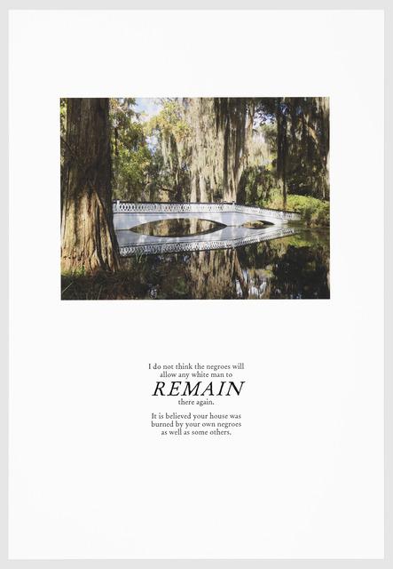 , 'REMAIN,' 2016, Arnika Dawkins Gallery