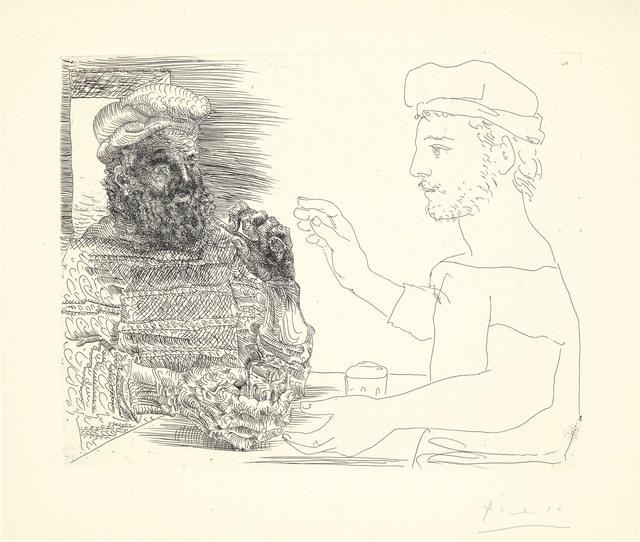 Pablo Picasso, 'Deux Buveurs catalans, plate 12 from La Suite Vollard', 1934, Christie's