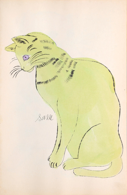 Andy Warhol, 'Sam. [Sitting lime green cat with purple eyes.]', 1954, Peter Harrington Gallery