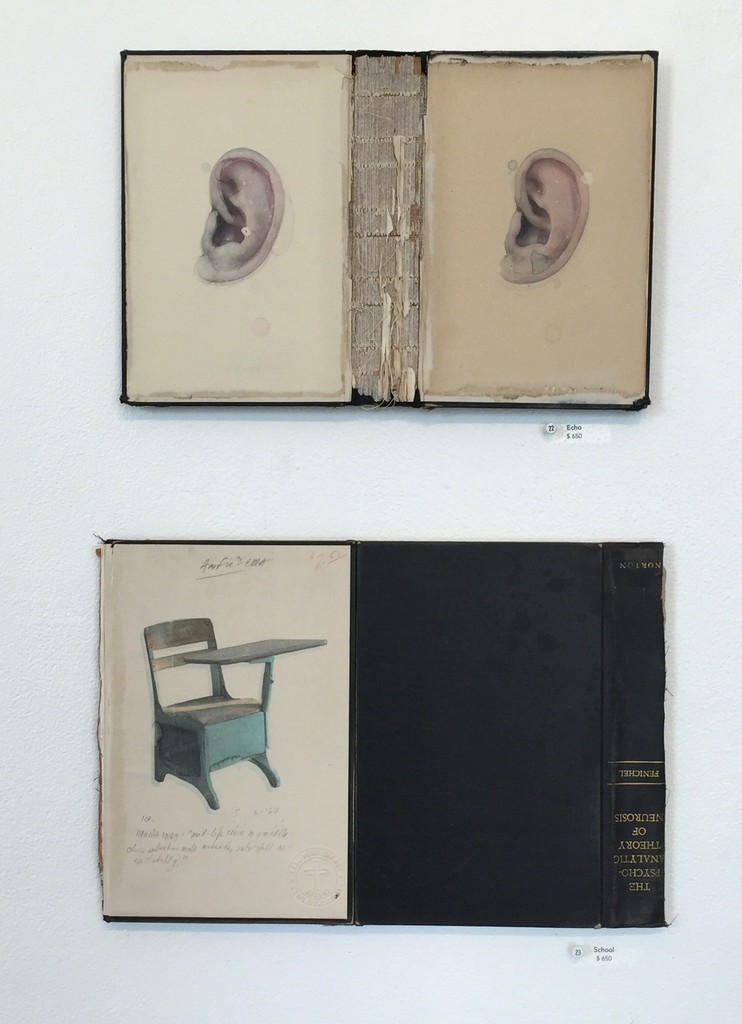 "Dan McClain's ""Echo"" and ""School."" Exquisitely hand painted watercolor and prismacolor imagery on disassembled books"