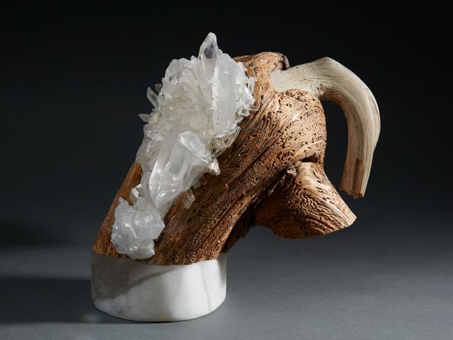 , ' Debra Baxter, Basta, 2018, alabaster, cedar, quartz crystal,' 2018, form & concept