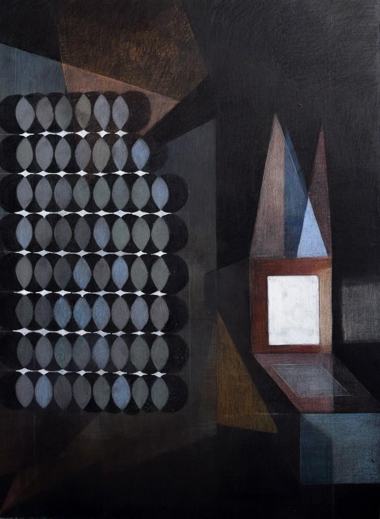 "Maren Schimmer: ""Pfeife rauchend in Mokassins"", 2018, 80 x 60cm, crayon/water colour/opaque white/drawing ink on cardboard"