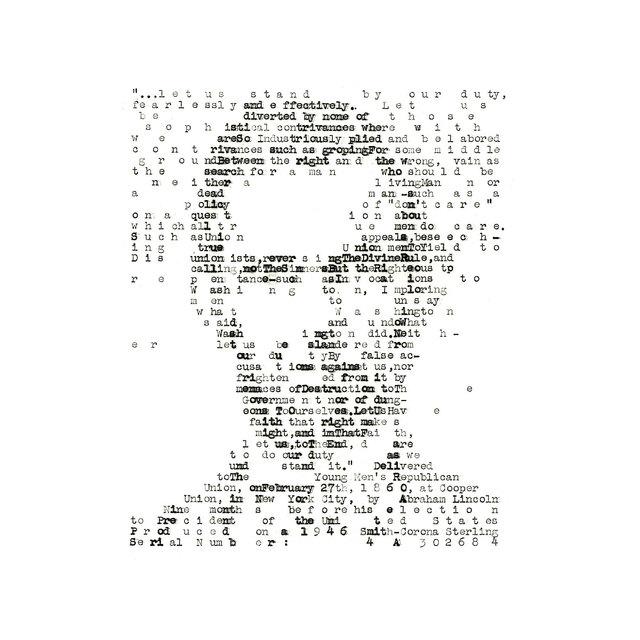 David Hollier, 'Abraham Lincoln (typewritten)', 2017, New Apostle Gallery