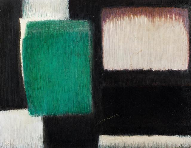 Georg Meistermann, 'Mit dem Schwarz (Mit Schwarz)', 1960, Painting, Oil on canvas, Van Ham