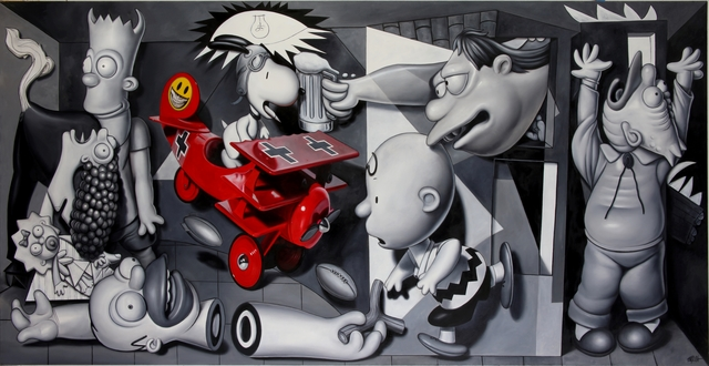 , 'Monotype Snoopy vs Simpsons Guernica,' 2016, Allouche Gallery