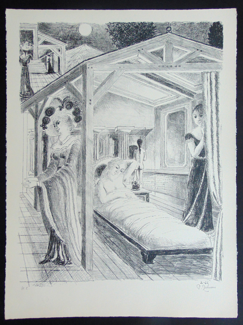 Paul Delvaux, ' The Sea is Near | La Mer est Proche', 1966, Print, Original Hand Signed and Inscribed Lithograph on Arches Wove Paper, Gilden's Art Gallery