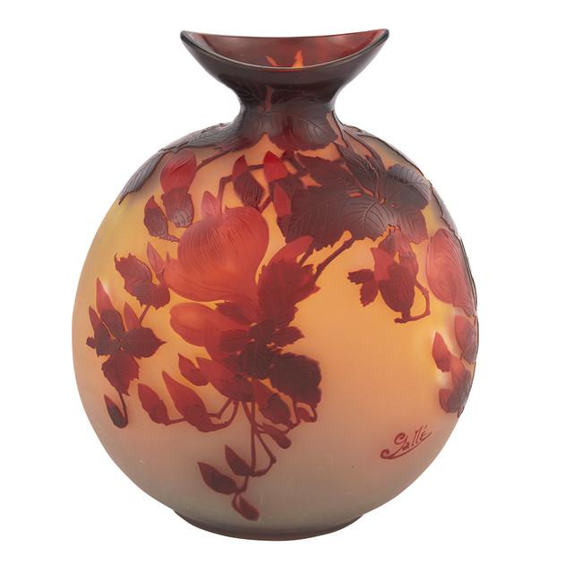 'Gallé Acid-Etched Cameo Glass Magnolia Vase', circa  1990, Design/Decorative Art, Doyle