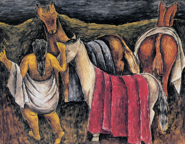 Maria Izquierdo, 'Los caballos', 1938, Drawing, Collage or other Work on Paper, Watercolor on paper, Mary-Anne Martin Fine Art