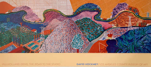 David Hockney, 'David Hockney Mulholland Drive, The Road to the Studio, Special Continuous Tone (No Dots) Lithograph Poster, LONG SOLD OUT AT LACMA', 1980, Reproduction, Collotype  Continuous Tone Lithograph (No Dots), David Lawrence Gallery