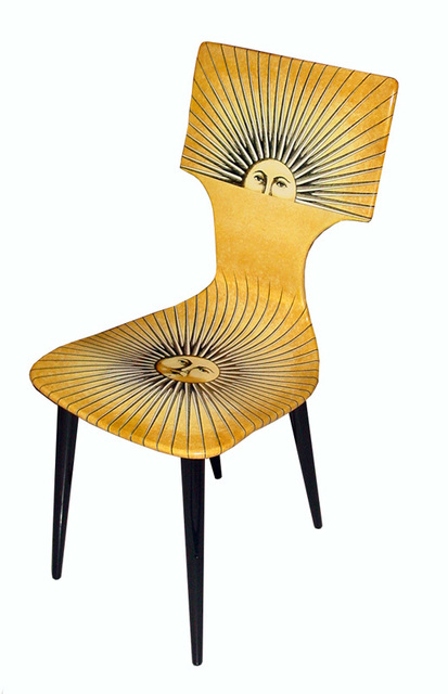 Piero Fornasetti, 'Set of four 'Sole' chairs', 1955, Design/Decorative Art, Plywood seat and black lacquered tapered legs, robertaebasta