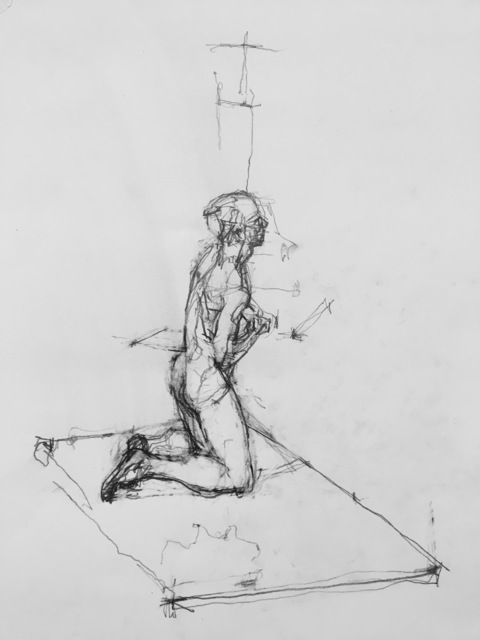 , 'Kneeling Male Nude,' 2018, Robert Kananaj Gallery