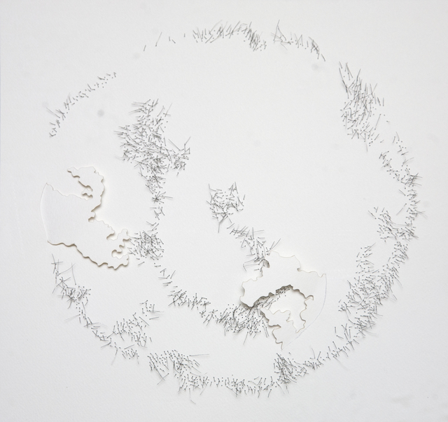 Safaa Erruas, 'Géographies II', 2019, Drawing, Collage or other Work on Paper, Metal threads and paper cuts, L'Atelier 21