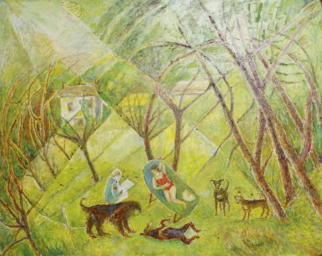 Marie Vorobieff Marevna, 'Marevna painting with a sunbathing Marika with dogs', Roseberys