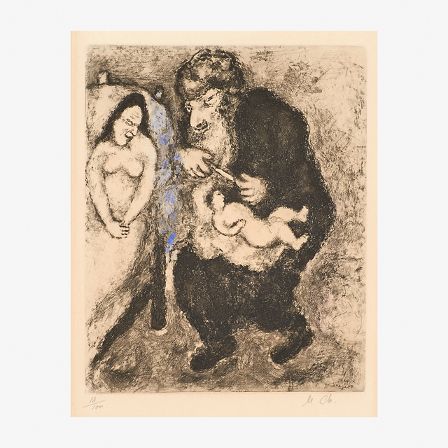 Marc Chagall, 'La Circoncision from the Bible series', 1958, Print, Etching with hand-coloring (framed), Rago/Wright