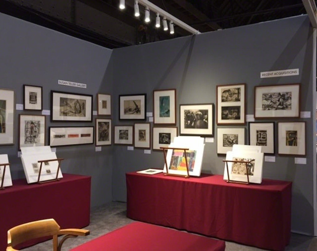 STG, Booth 103, some of North Wall (top horizontal is Stanley William Hayter's Laocoon, above three of Peter Grippe's Figure intaglios. To the right is the East Wall. The Raphael Soyer Bowery Nocturne is at the center and at the left are the three extremely rare Victor DeWildes.