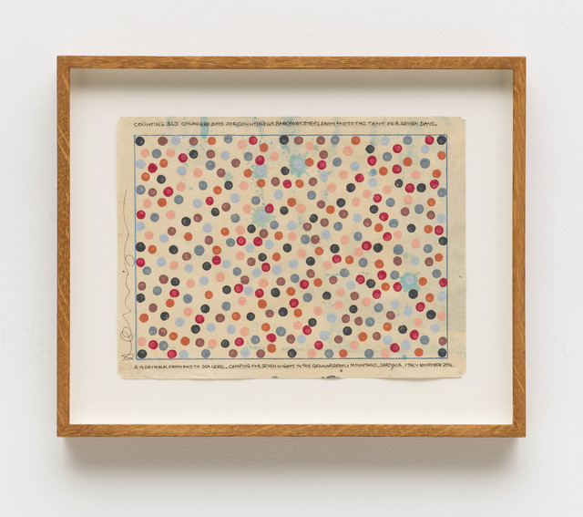 , 'Counting 343 coloured dots for counting 49 barefoot steps from and to the tent for seven days. A 14 day walk from and to sea level. Camping for seven nights in the Gennargentu Mountains. Sardinia,' 2014, Bergamin & Gomide