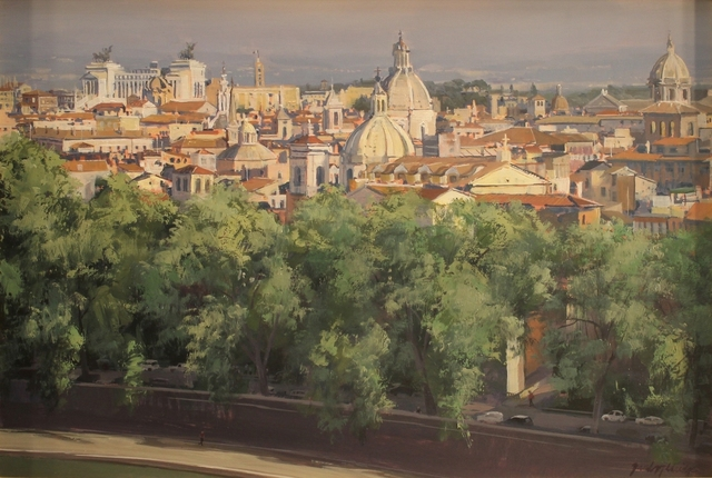 ", '""A Walk by the Tiber (view of Rome from Castel Sant' Angelo"",' 2018, Bonner David Galleries"
