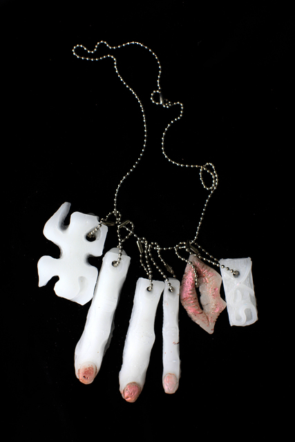 Naomi Fisher, 'Puzzle, finger, finger, finger, lips, sex', 2016, Sculpture, Handmade peppermint essential oil infused paraffin wax and pigment charms on chain, Cultured Magazine