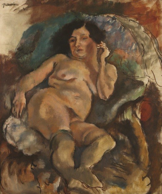 Jules Pascin, 'Jeune Femme Dans un Fauteuil, Oil on canvas, 83X65 cm. Signed.', 1885-1930, Tiroche Auction House & Gallery