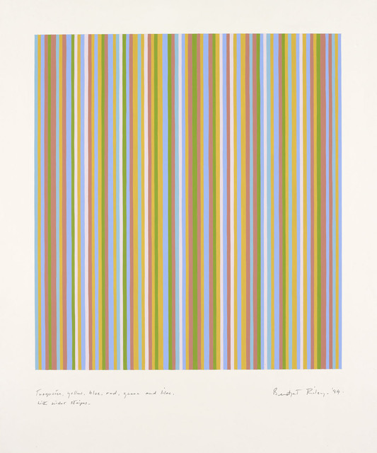 , 'Turquoise, Yellow, Blue, Red, Green and Lilac with Wider Stripes,' 1984, Offer Waterman
