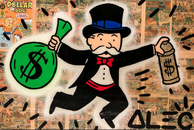 , 'Monopoly Holding $ Bag and $ Spray ,' 2017, Eden Fine Art