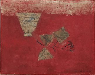 Bol et Feuilles sur Fond Rouge (Bowl and Leaves with Red Background)