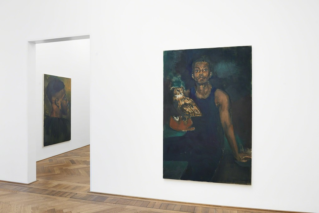"Lynette Yiadom-Boakye, Installation view ""A Passion To A Principle,"" Kunsthalle Basel, 2016, view on (f.l.t.r.) ""Waxwing,"" 2016, and ""The Matters,"" 2016. Photo: Philipp Hänger"