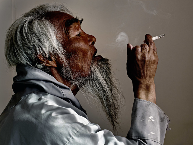 , 'Aggu Smoking,' 2016, Hans Alf Gallery