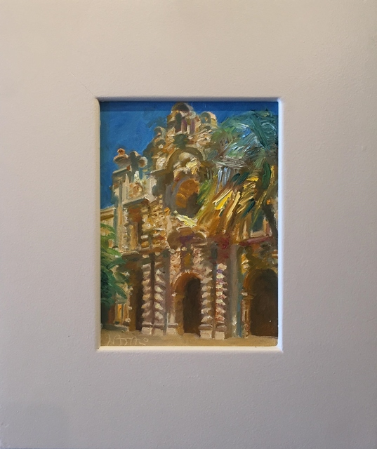 John Asaro, 'Prado Balboa Park', 2017, Painting, Oil on Wood, Ethos Contemporary Art