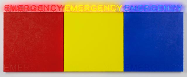 Deborah Kass, 'EMERGENCY (RED, YELLOW, BLUE) ', 2019, Painting, Acrylic and neon on canvas, Kavi Gupta
