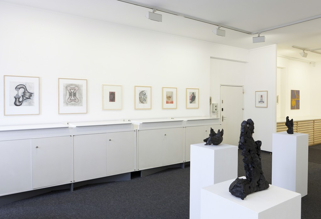 Installation view, Interim 2016 / 2017, drawings by John Newman, sculptures by Michael Croissant and Per Kirkeby