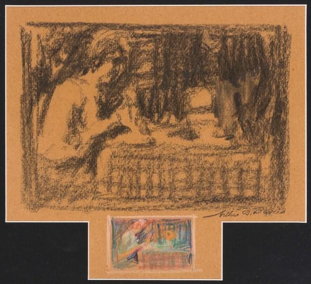 Arthur Bowen Davies, 'Two Variations on the Theme of Woman at Table', circa 1900, Doyle