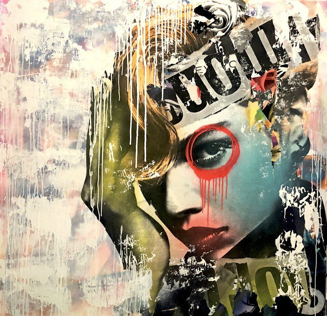 DAIN, 'Almond Joy Couture', 2019, Painting, Wheat-paste, acrylic and spray paint on canvas, Avant Gallery