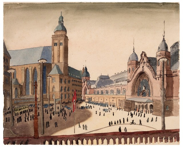 Carl Grossberg, 'Köln, Bahnhofsplatz', 1935, Drawing, Collage or other Work on Paper, Watercolor on paper, Galerie Michael Hasenclever