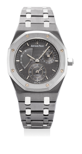 Audemars Piguet, 'A fine and rare attractive tantalum and stainless steel wristwatch with dual time, power reseve,date and bracelet', 2004, Phillips