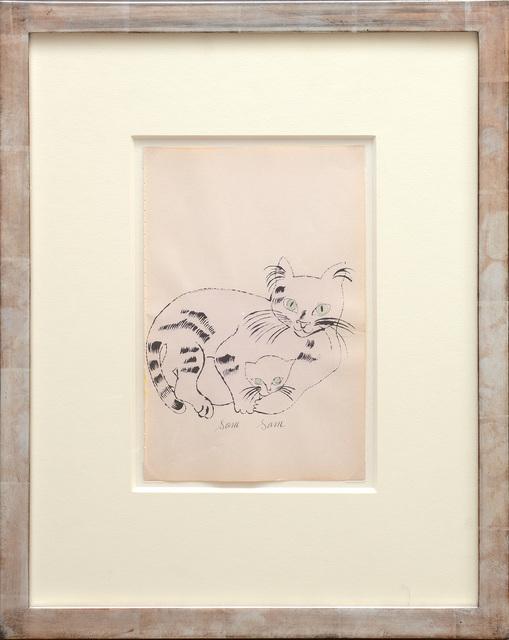 Andy Warhol, 'Sam, Sam. [Reclining light pink cat and kitten both with light blue eyes.]', 1954, Peter Harrington Gallery