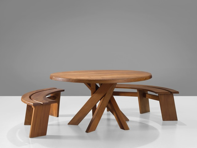 , 'Dining Set with 'Sfax' Round Table T21C and Benches S38A,' 1960-1969, MORENTZ