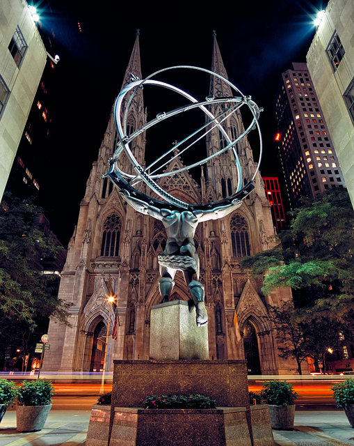 Andrew Prokos, 'Atlas and St. Patrick's Cathedral at Night', 2007, Andrew Prokos Gallery