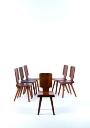 Six S28A chairs in elm