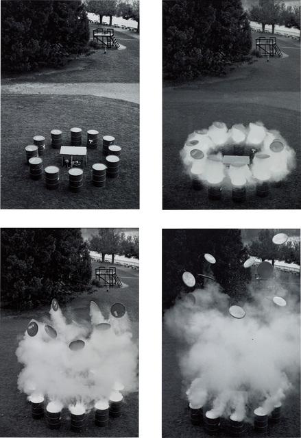 Roman Signer, 'Aktion mit Fässern', 1992, Photography, Black and white photograph on baryte paper, quadriptych, Phillips