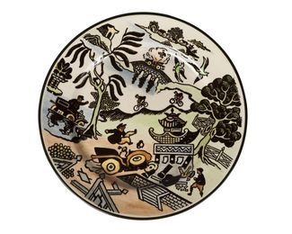 a rare 'Motoring Willow Pattern' Series Ware cabinet plate