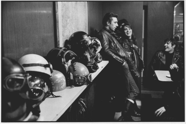 , 'Bikers with Helmets at the Ace Café, London,' 1964, ElliottHalls