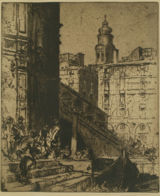 Sir Frank Brangwyn, 'Rialto Boatmen, Venice', ca. 1910, Print, Etching, Private Collection, NY