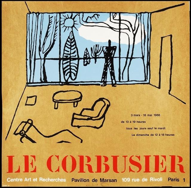 Le Corbusier, 'Rare, Original Poster for 1960s Centre Art et Recherches Exhibition, Palais du Louvre', 1966, Alpha 137 Gallery