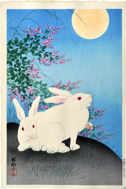 Ohara Koson, 'Two White Rabbits with Flowering Bush Cover Under a Full Moon', ca. 1931, Scholten Japanese Art